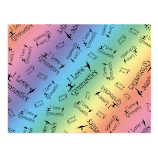 Rainbow I love gymnastics Postcard