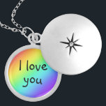 """Rainbow I Love You Locket Necklace<br><div class=""""desc"""">So very romantic.  Designed in Washington State,  USA for your enjoyment. Thanks for supporting independent artists!</div>"""