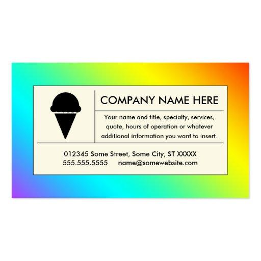 rainbow ice cream business card