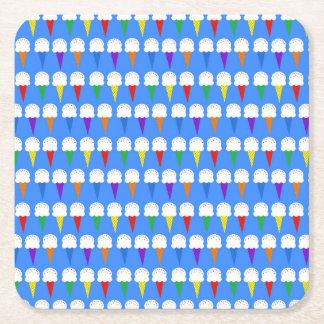 Rainbow Ice Cream Cones Square Paper Coaster