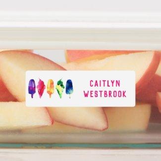Rainbow Ice Cream School Daycare Waterproof Kids' Labels