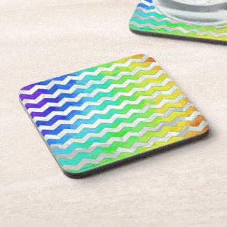 Rainbow Icy Chevron Pattern Coaster