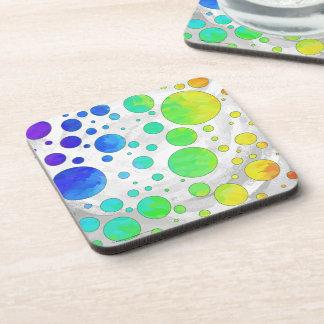 Rainbow Icy Polka Dot Pattern Beverage Coaster