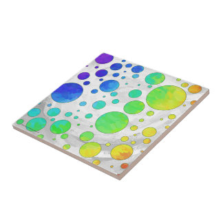 Rainbow Icy Polka Dot Pattern Ceramic Tile