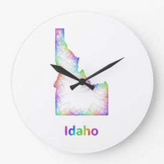 Rainbow Idaho map Large Clock