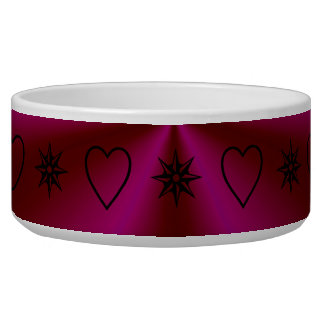 rainbow in crimson and pink with stars and hearts bowl