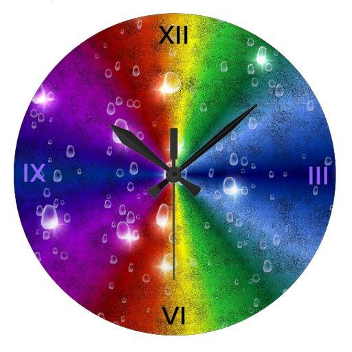 rainbow in elephant skin leather optik & raindrops clock