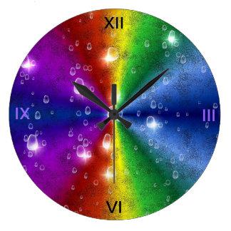 rainbow in elephant skin leather optik & raindrops large clock