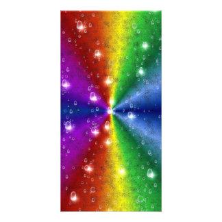 rainbow in elephant skin leatheroptik & raindrops photo greeting card