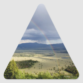 Rainbow in Grand Teton National Park Triangle Sticker