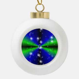 Rainbow in green blue and black with Raindrops Ceramic Ball Christmas Ornament