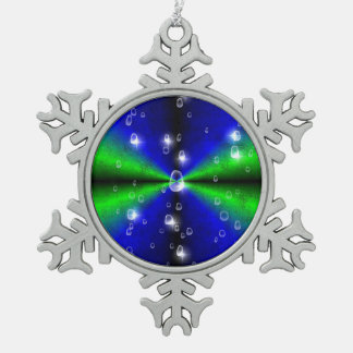 Rainbow in green blue and black with Raindrops Snowflake Pewter Christmas Ornament