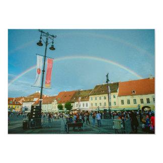 Rainbow in Sibiu 5x7 Paper Invitation Card