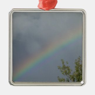Rainbow in the Clouds Square Metal Christmas Ornament