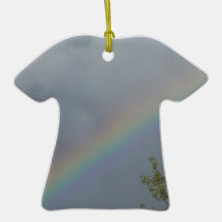 Rainbow in the Clouds Double-Sided T-Shirt Ceramic Christmas Ornament