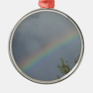 Rainbow in the Clouds Round Metal Christmas Ornament