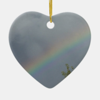 Rainbow in the Clouds Double-Sided Heart Ceramic Christmas Ornament