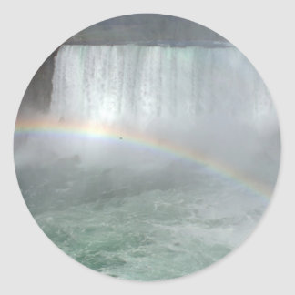 Rainbow In The Niagara Fall Classic Round Sticker