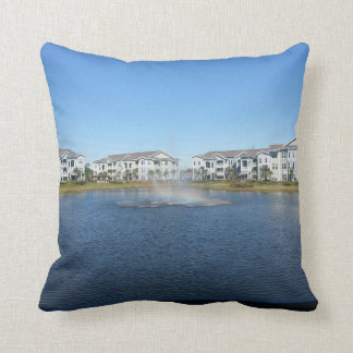 Rainbow in Water Cotton Throw Pillow 16 X 16
