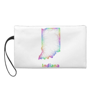 Rainbow Indiana map Wristlet Purse