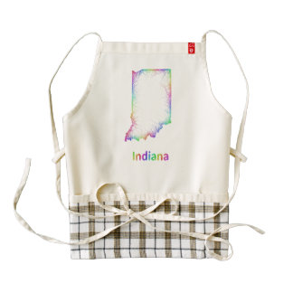 Rainbow Indiana map Zazzle HEART Apron