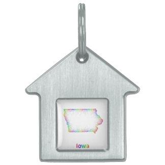 Rainbow Iowa map Pet ID Tag