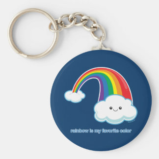 Rainbow is My Favorite Color Basic Round Button Keychain
