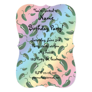 Rainbow jalapeno peppers pattern 5x7 paper invitation card