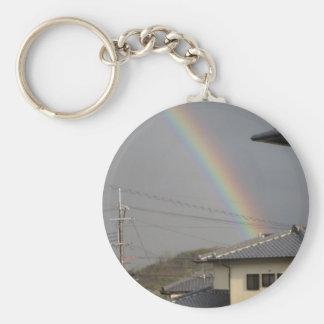 rainbow japan basic round button keychain