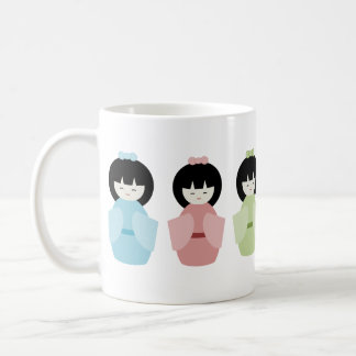 Rainbow Japanese Dolls Classic White Coffee Mug