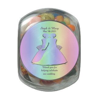 Rainbow Jelly Belly Jar Gay Brides' Wedding Favor Glass Candy Jar