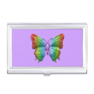 Rainbow Jeweled Butterfly 3D Effect Business Card Case