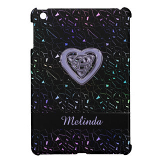 Rainbow Jeweled Sparkles with Celtic Heart Knot iPad Mini Case