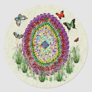 Rainbow Jewels Easter Egg Classic Round Sticker