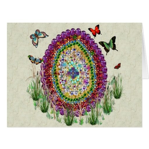 Rainbow Jewels Easter Egg Large Greeting Card