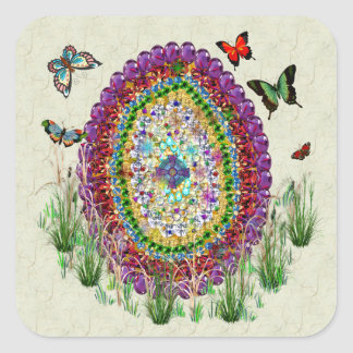 Rainbow Jewels Easter Egg Square Sticker