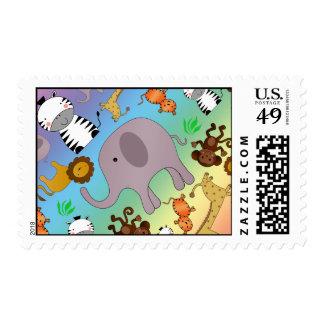 Rainbow jungle safari animals postage