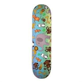Rainbow jungle safari animals skateboards