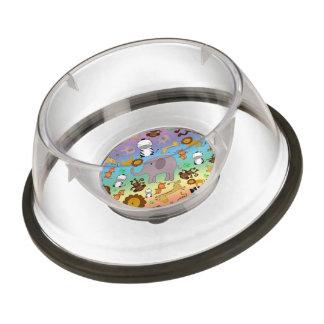 Rainbow jungle safari animals pet bowl