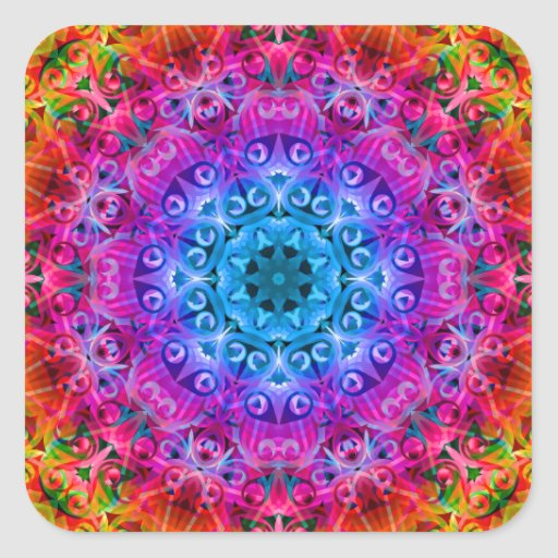 Rainbow Kaleidoscope Square Sticker