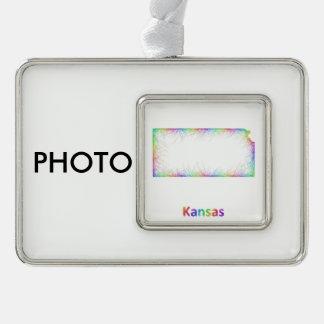 Rainbow Kansas map Ornament