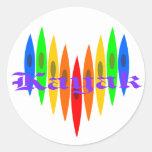Rainbow Kayak Heart Classic Round Sticker