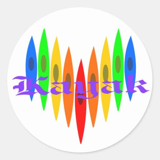 Rainbow Kayak Heart Round Stickers