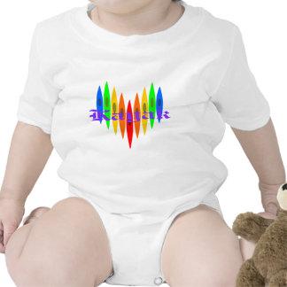 Rainbow Kayak Heart Baby Bodysuit