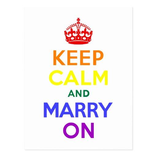 Rainbow Keep Calm and Marry On Postcard
