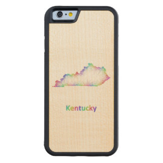 Rainbow Kentucky map Carved Maple iPhone 6 Bumper Case
