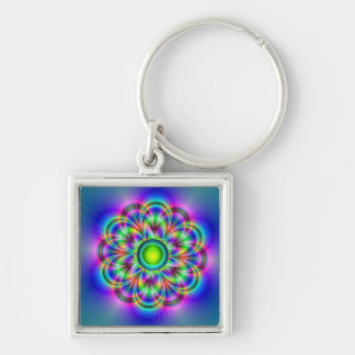 Rainbow Silver-Colored Square Keychain