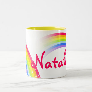 Rainbow kids 7 letter name mug