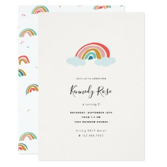 Rainbow Kids Birthday Party Invitation