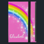 "Rainbow kids girls name pink case<br><div class=""desc"">Cute pretty bright and colorful rainbow ipad mini folio or other iPad case of your choice. Original graphic patterned book style type case with a pink background. Customise with the long name of your choice. Example reads Elizabeth. Plus if found address details can be placed on the reverse just in...</div>"